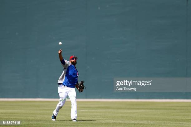 Jose Bautista of Team Dominican Republic warms up during the workout day for Pool C of the 2017 World Baseball Classic on Monday March 6 2017 at...