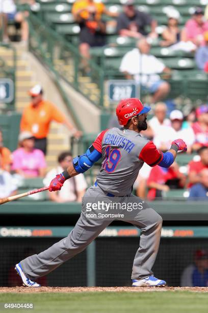Jose Bautista of the Dominican Republic at bat during the spring training game between the WBC's Dominican Republic and the Baltimore Orioles on...