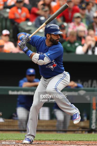 Jose Bautista of the Toronto Blue Jays bats against the Baltimore Orioles in their Opening Day game at Oriole Park at Camden Yards on April 3 2017 in...