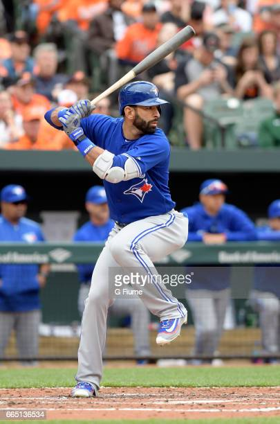 Jose Bautista of the Toronto Blue Jays bats against the Baltimore Orioles on Opening Day at Oriole Park at Camden Yards on April 3 2017 in Baltimore...