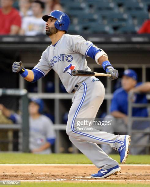 Jose Bautista of the Toronto Blue Jays bats against the Chicago White Sox on August 1 2017 at Guaranteed Rate Field in Chicago Illinois