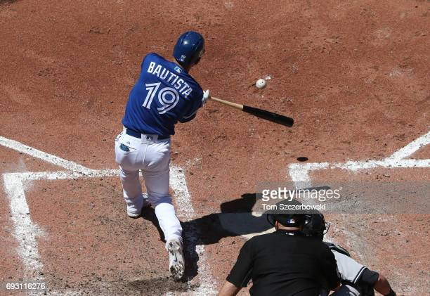 Jose Bautista of the Toronto Blue Jays bats in the fifth inning during MLB game action against the New York Yankees at Rogers Centre on June 3 2017...