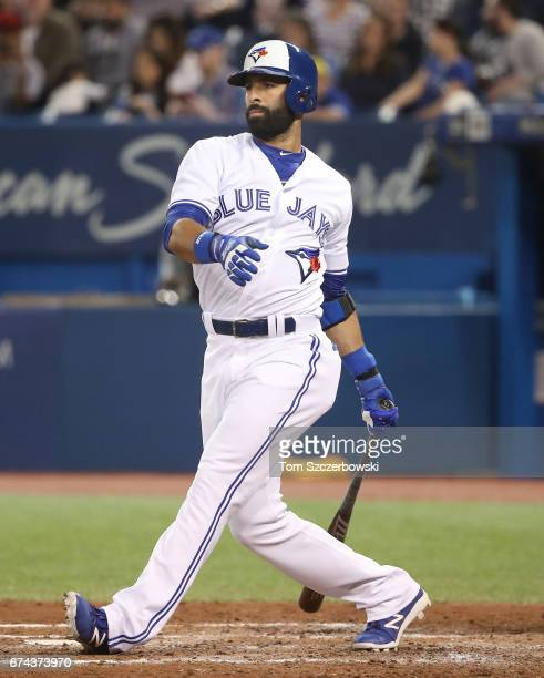 Jose Bautista of the Toronto Blue Jays bats in the sixth inning during MLB game action against the Baltimore Orioles at Rogers Centre on April 13...