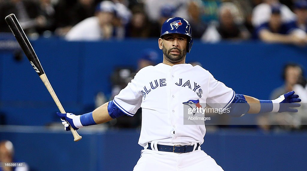 Jose Bautista #19 of the Toronto Blue Jays dodges an inside pitch in the seventh inning against the Cleveland Indians during MLB action at the Rogers Centre April 3, 2013 in Toronto, Ontario, Canada.
