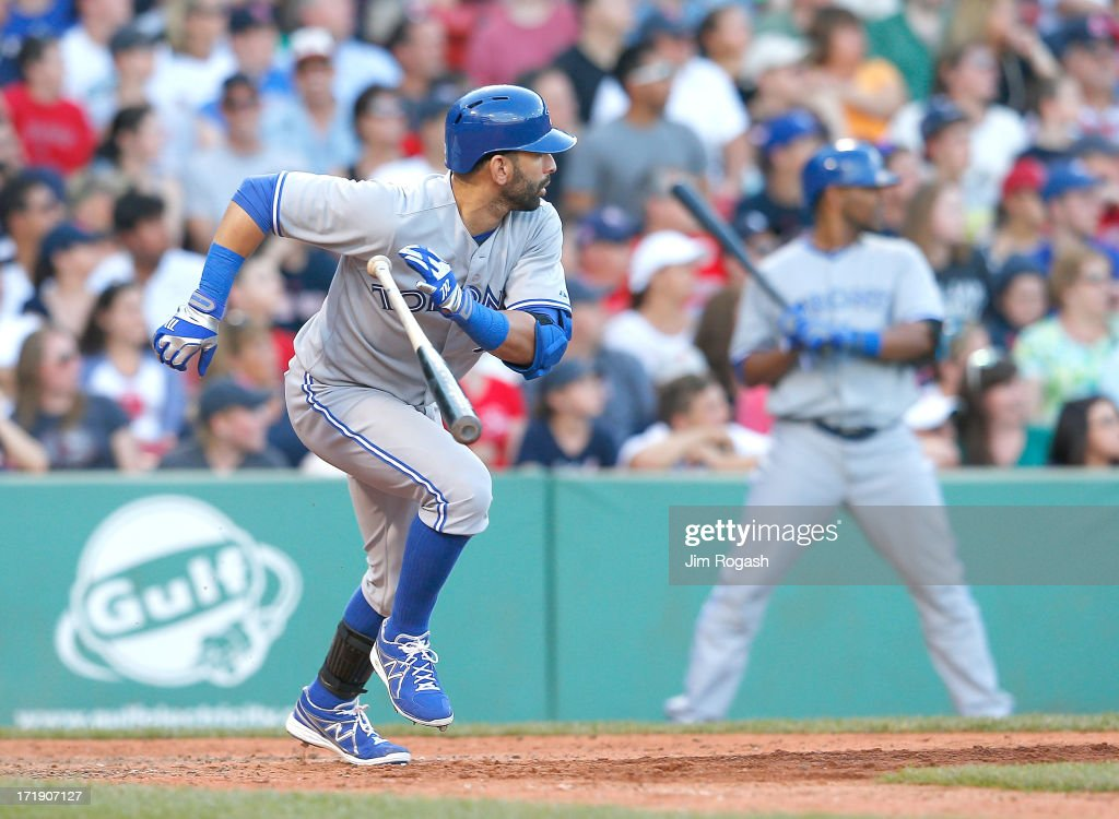 Jose Bautista #19 of the Toronto Blue Jays hits a double in the 9th inning against the Boston Red Sox at Fenway Park on June 29, 2013 in Boston, Massachusetts.