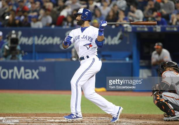 Jose Bautista of the Toronto Blue Jays hits a double in the sixth inning during MLB game action against the Baltimore Orioles at Rogers Centre on...