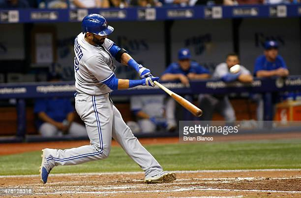 Jose Bautista of the Toronto Blue Jays hits a home run in the sixth inning of a game against the Tampa Bay Rays on June 22 2015 at Tropicana Field in...