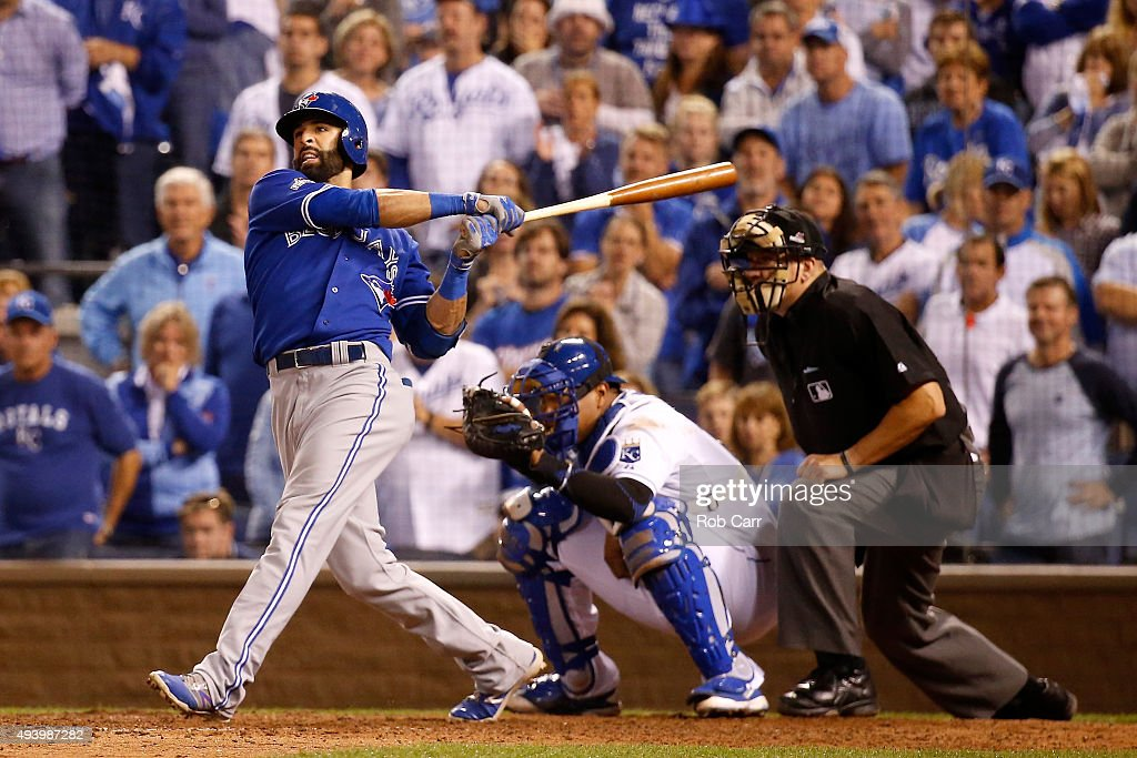 Jose Bautista #19 of the Toronto Blue Jays hits a two-run home run in the eighth inning against the Kansas City Royals in game six of the 2015 MLB American League Championship Series at Kauffman Stadium on October 23, 2015 in Kansas City, Missouri.