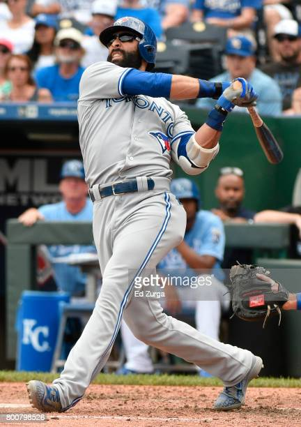 Jose Bautista of the Toronto Blue Jays hits a tworun home run in the fifth inning against the Toronto Blue Jays at Kauffman Stadium on June 25 2017...
