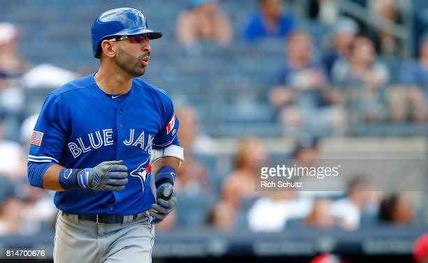 Jose Bautista of the Toronto Blue Jays in action against the New York Yankees during a game at Yankee Stadium on July 4 2017 in the Bronx borough of...
