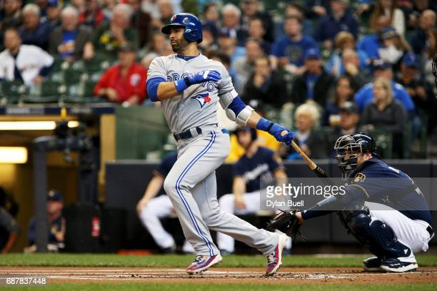 Jose Bautista of the Toronto Blue Jays lines out in the first inning against the Milwaukee Brewers at Miller Park on May 24 2017 in Milwaukee...