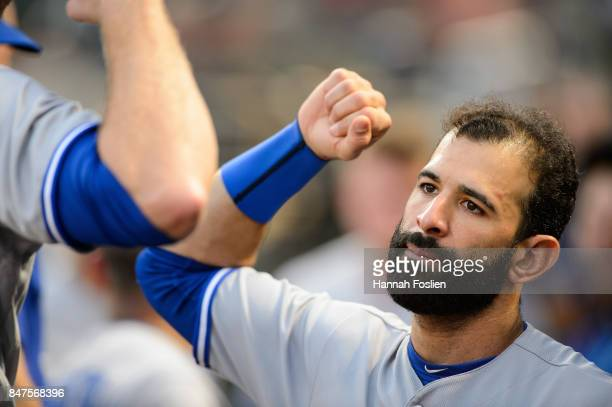 Jose Bautista of the Toronto Blue Jays looks on before the game against the Minnesota Twins on September 14 2017 at Target Field in Minneapolis...