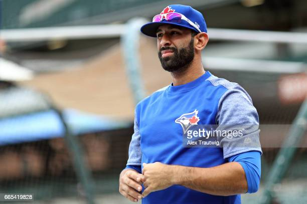 Jose Bautista of the Toronto Blue Jays looks on during batting practice ahead of the game against the Baltimore Orioles at Oriole Park at Camden...