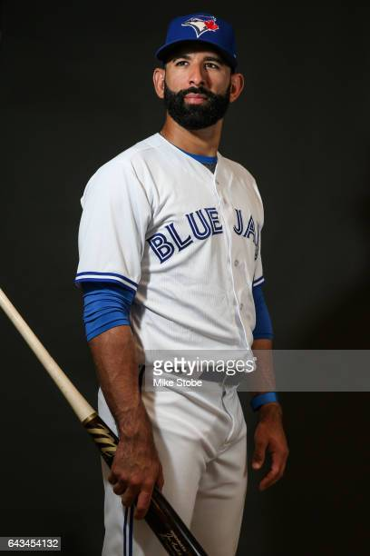 Jose Bautista of the Toronto Blue Jays poses for a portait during a MLB photo day at Florida Auto Exchange Stadium on February 21 2017 in Sarasota...