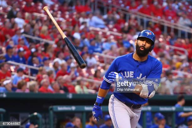 Jose Bautista of the Toronto Blue Jays reacts after flying out against the St Louis Cardinals in the first inning at Busch Stadium on April 25 2017...