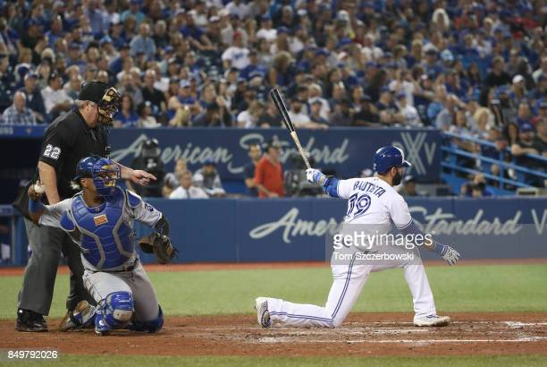 Jose Bautista of the Toronto Blue Jays strikes out tying the singleseason club record for most strikeouts with 159 in the eighth inning during MLB...