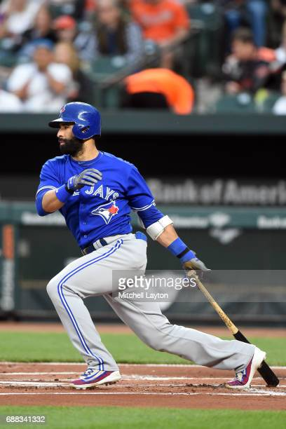 Jose Bautista of the Toronto Blue Jays takes a swing during a baseball game against the Baltimore Orioles at Oriole Park at Camden Yards on May 20...
