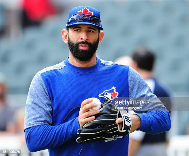 Jose Bautista of the Toronto Blue Jays warms up before the game against the Atlanta Braves at SunTrust Park on May 17 2017 in Atlanta Georgia