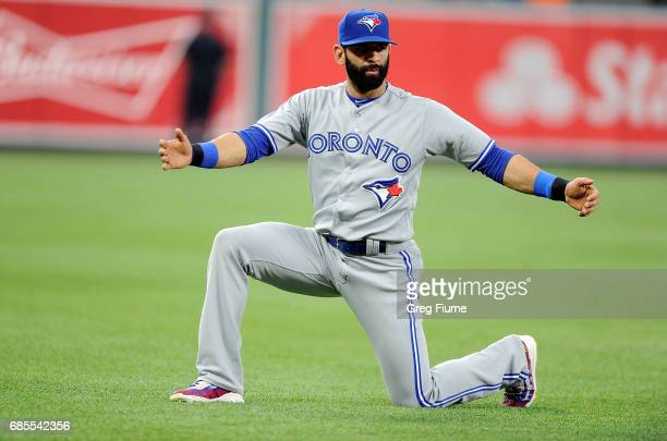 Jose Bautista of the Toronto Blue Jays warms up before the game against the Baltimore Orioles at Oriole Park at Camden Yards on May 19 2017 in...