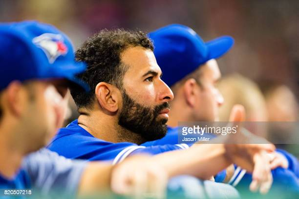 Jose Bautista of the Toronto Blue Jays watches from the dugout during the seventh inning against the Cleveland Indians at Progressive Field on July...