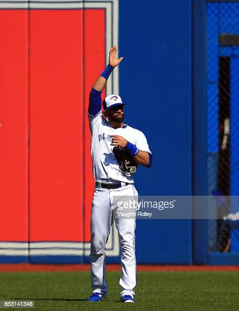 Jose Bautista of the Toronto Blue Jays waves to the crowd prior to the first inning during MLB game action against the New York Yankees at Rogers...