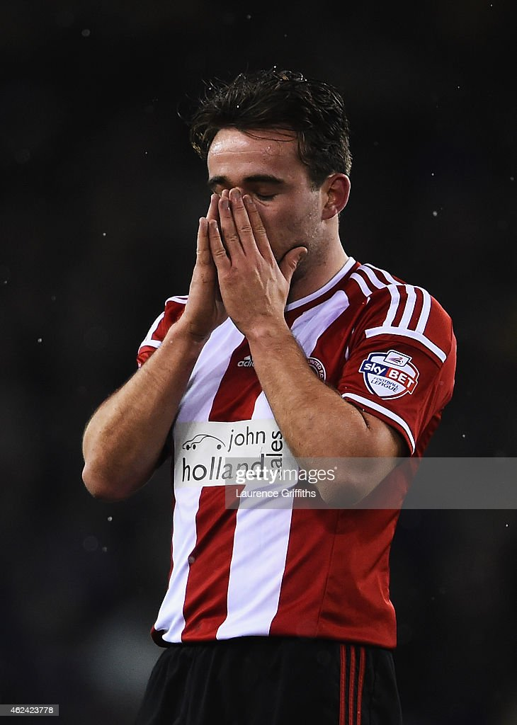 Jose Baxter of Sheffield United reacts during the Capital One Cup Semi-Final Second Leg match between Sheffield United and Tottenham Hotspur at Bramall Lane on January 28, 2015 in Sheffield, England.