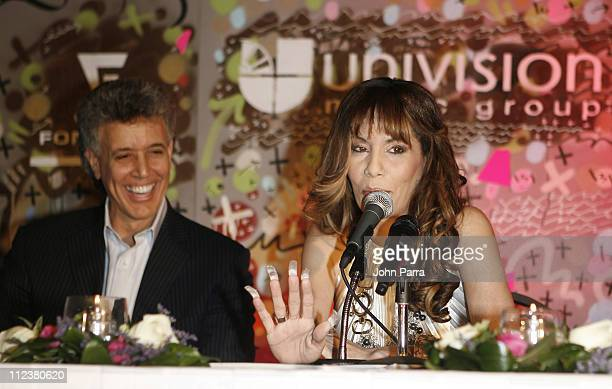 Jose Behar and Ivy Queen during Reggaeton Artist Ivy Queen Announces Exclusive Contract with Univision Music Group at Press Conference January 12...