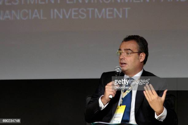 Jose Berenguer chief executive officer of Banco JP Morgan SA speaks during the Brazil Investment Forum 2017 in Sao Paulo Brazil on Tuesday May 30...