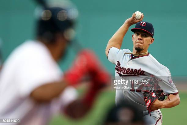 Jose Berrios of the Minnesota Twins delivers in the second inning of a game against the Boston Red Sox at Fenway Park on June 26 2017 in Boston...