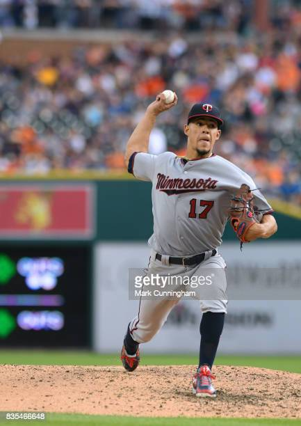 Jose Berrios of the Minnesota Twins pitches during the game against the Detroit Tigers at Comerica Park on August 12 2017 in Detroit Michigan The...