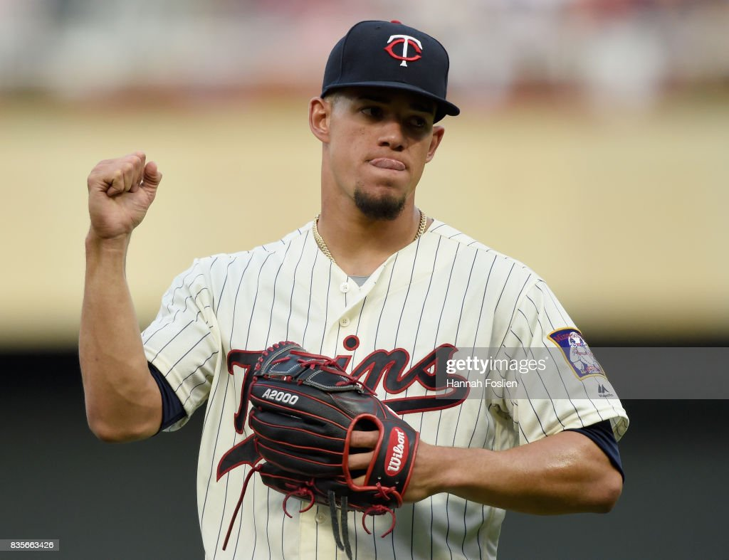 Jose Berrios #17 of the Minnesota Twins reacts after getting out of the second inning in the game against the Arizona Diamondbacks on August 19, 2017 at Target Field in Minneapolis, Minnesota. The Twins defeated the Diamondbacks 5-0.