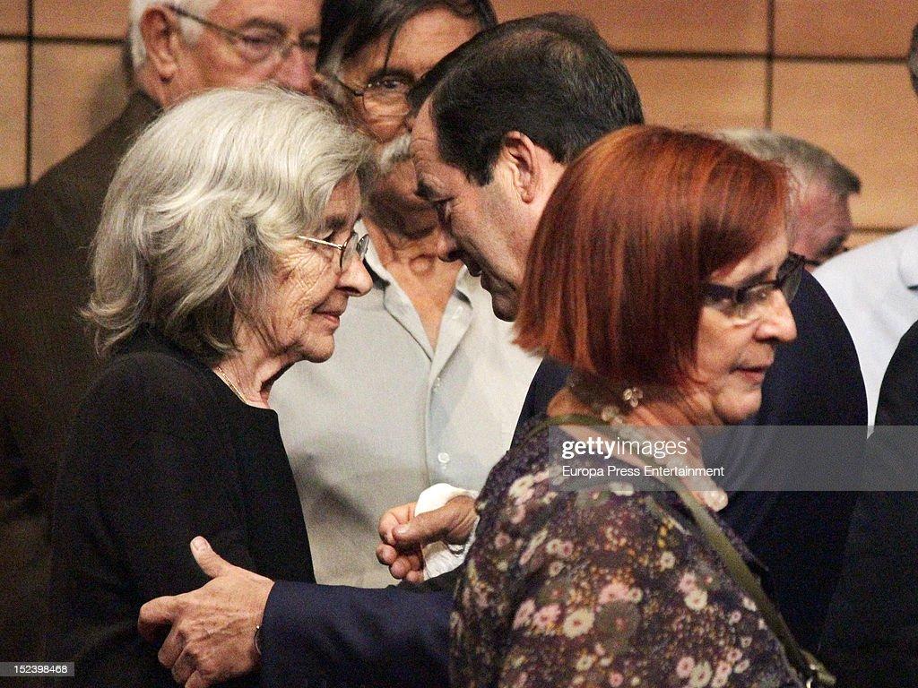 Jose Bono comforts Carmen Menendez during the funeral for former Communist Party leader Santiago Carrillo September 19 2012 in Madrid Spain Carrillo...