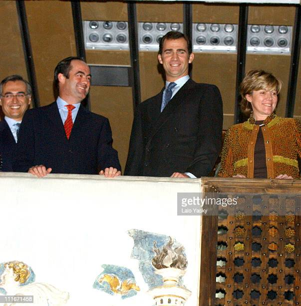 Jose Bono president of the Autonomic Comunity of Castilla La Mancha Crown Prince Felipe of Spain and Pilar del Castillo Spain's Minister of Culture