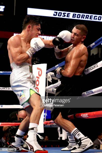 Jose Borrego connects to the face of Juan Heraldez during their welterweight bout on August 26 2017 at TMobile Arena in Las Vegas Nevada