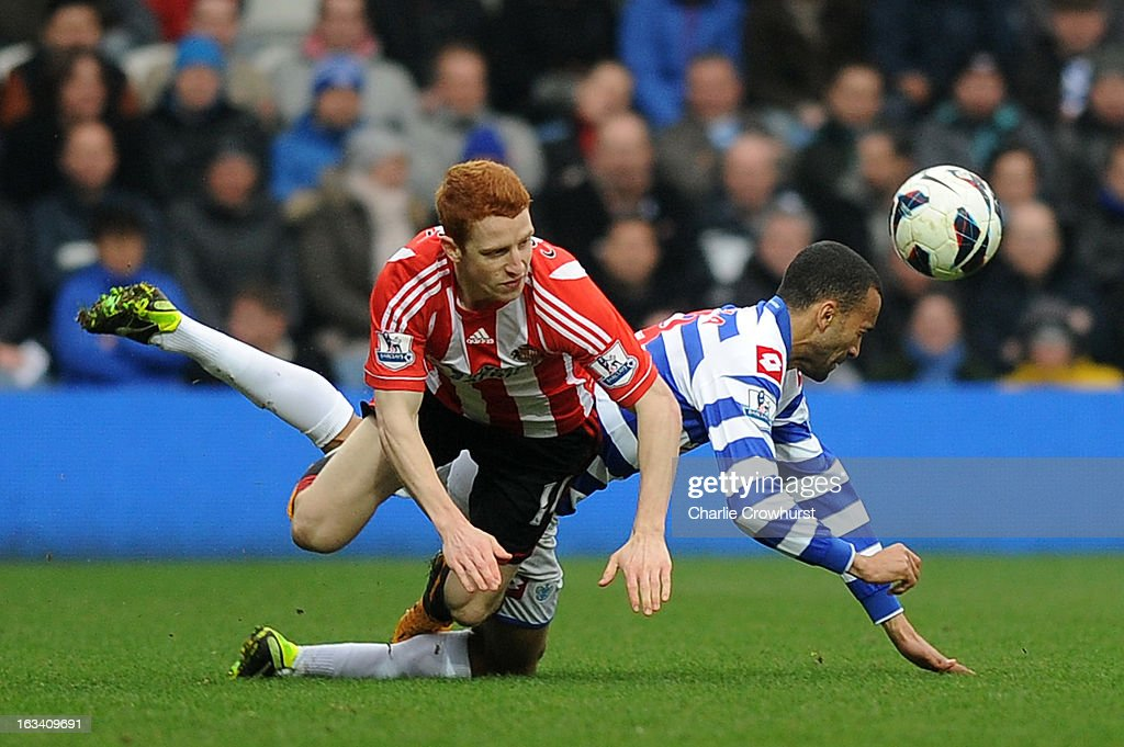 Jose Bosingwa of Queens Park Rangers and <a gi-track='captionPersonalityLinkClicked' href=/galleries/search?phrase=Jack+Colback&family=editorial&specificpeople=4940395 ng-click='$event.stopPropagation()'>Jack Colback</a> of Sunderland clash during the Barclays Premier League match between Queens Park Rangers and Sunderland at Loftus Road on March 9, 2013 in London, England.