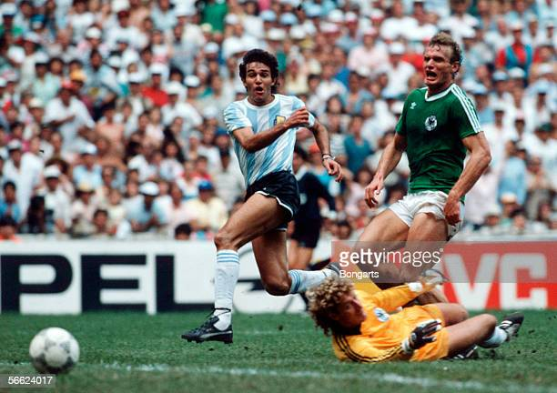 Jose Burruchaga of Argentina scores the third goal for Argentina during the World Cup final match between Argentina and Germany on June 29 1986 in...