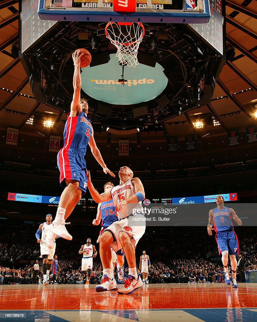 Jose Calderon #8 in his first game with the Detroit Pistons shoots against <a gi-track='captionPersonalityLinkClicked' href=/galleries/search?phrase=Jason+Kidd&family=editorial&specificpeople=201560 ng-click='$event.stopPropagation()'>Jason Kidd</a> #5 of the New York Knicks on February 4, 2013 at Madison Square Garden in New York City.
