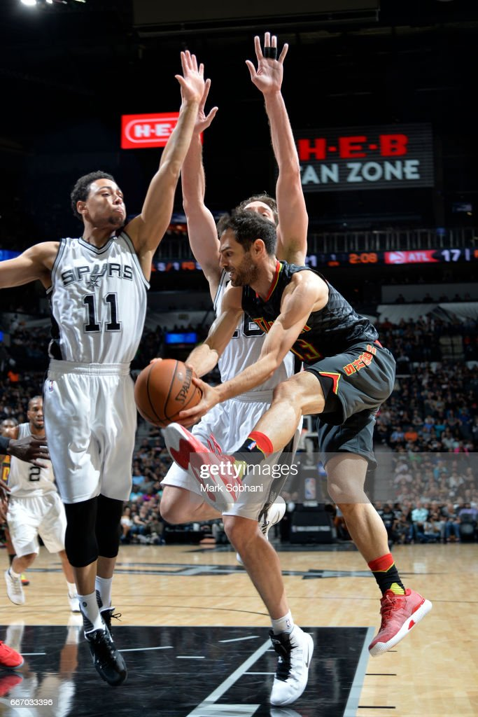 Jose Calderon #13 of the Atlanta Hawks goes to the basket during the game against the San Antonio Spurs on March 13, 2017 at the AT&T Center in San Antonio, Texas.