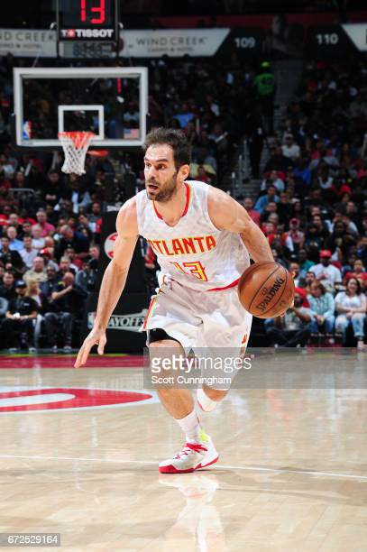 Jose Calderon of the Atlanta Hawks handles the ball against the Washington Wizards during Game Four of the Eastern Conference Quarterfinals of the...