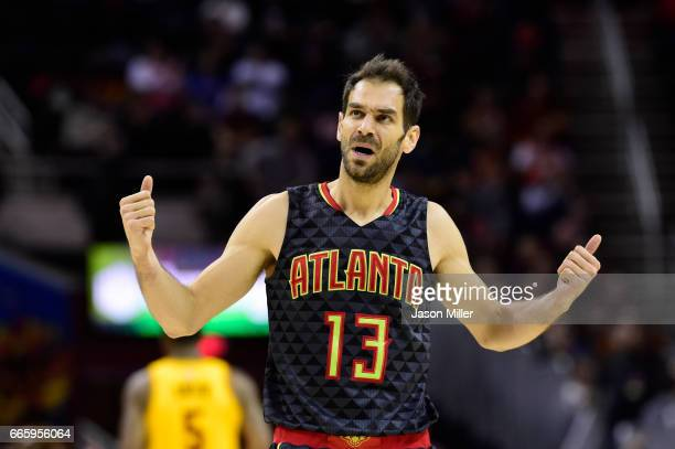 Jose Calderon of the Atlanta Hawks reacts after a foul call during the first half against the Cleveland Cavaliers at Quicken Loans Arena on April 7...