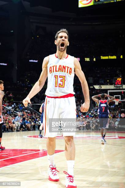 Jose Calderon of the Atlanta Hawks reacts during the game against the Washington Wizards in Game Three of the Eastern Conference Quarterfinals during...