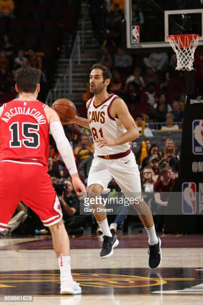 Jose Calderon of the Cleveland Cavaliers handles the ball against the Chicago Bulls during a preseason game on October 10 2017 at Quicken Loans Arena...
