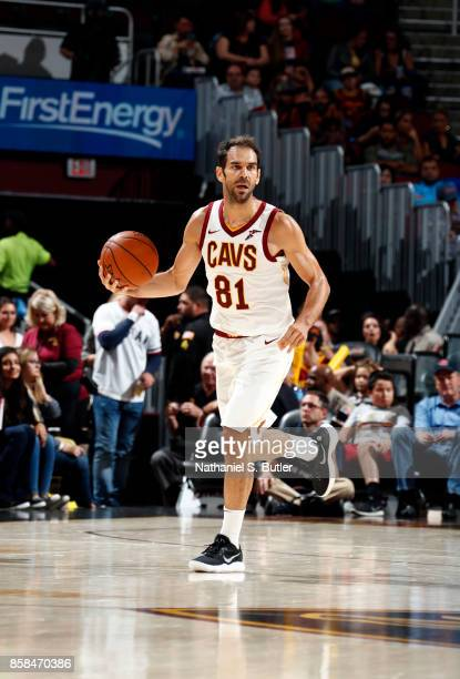 Jose Calderon of the Cleveland Cavaliers handles the ball during the preseason game against the Indiana Pacers on October 6 2017 at Quicken Loans...