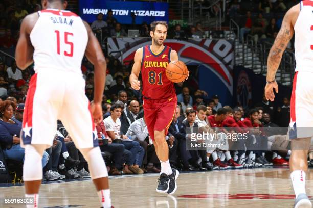 Jose Calderon of the Cleveland Cavaliers handles the ball during the preseason game against the Washington Wizards on October 8 2017 at Capital One...