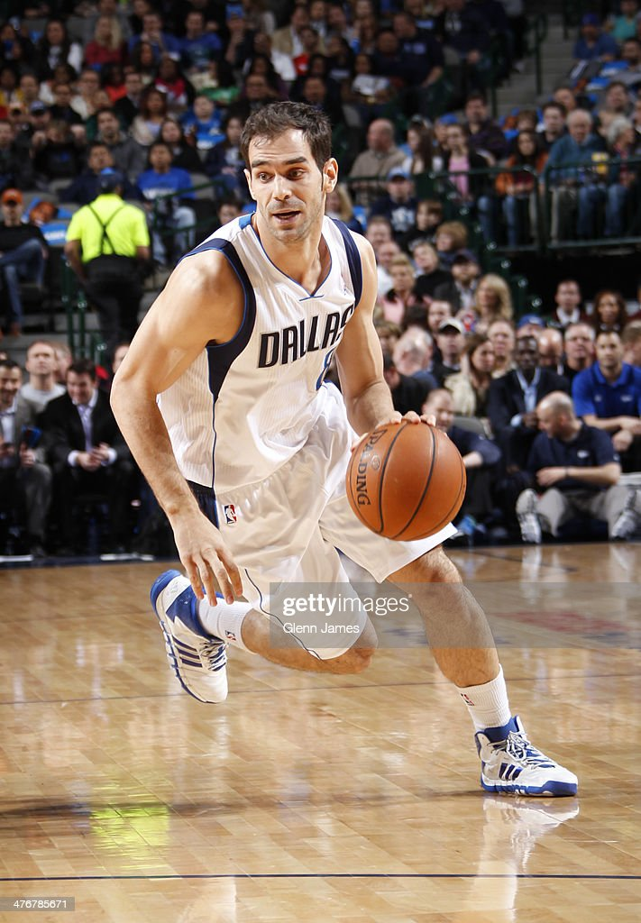 <a gi-track='captionPersonalityLinkClicked' href=/galleries/search?phrase=Jose+Calderon&family=editorial&specificpeople=548297 ng-click='$event.stopPropagation()'>Jose Calderon</a> #8 of the Dallas Mavericks dribbles the ball against the Utah Jazz on February 7, 2014 at the American Airlines Center in Dallas, Texas.