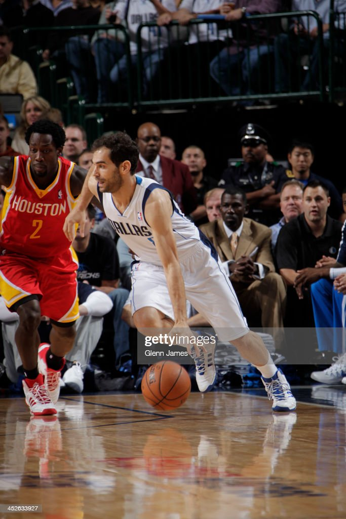 Jose Calderon #8 of the Dallas Mavericks drives to the basket against the Houston Rockets on November 20, 2013 at the American Airlines Center in Dallas, Texas.