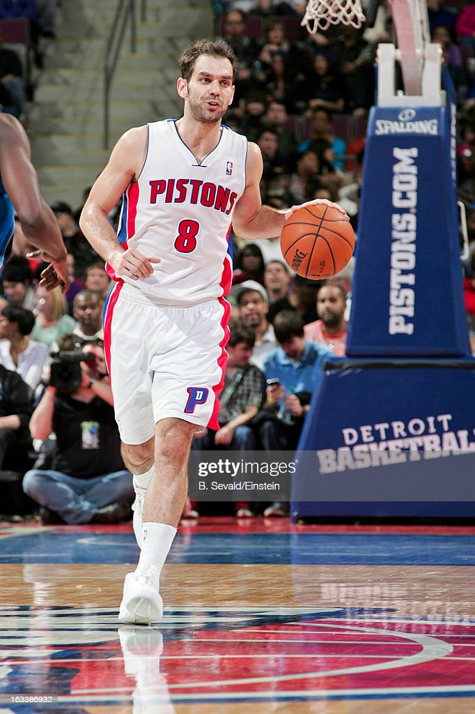 Jose Calderon #8 of the Detroit Pistons advances the ball against the Dallas Mavericks on March 8, 2013 at The Palace of Auburn Hills in Auburn Hills, Michigan.