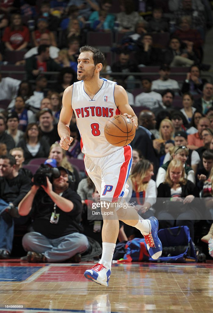 Jose Calderon #8 of the Detroit Pistons brings the ball up court during the game between the Detroit Pistons and the Toronto Raptors on March 29, 2013 at The Palace of Auburn Hills in Auburn Hills, Michigan.