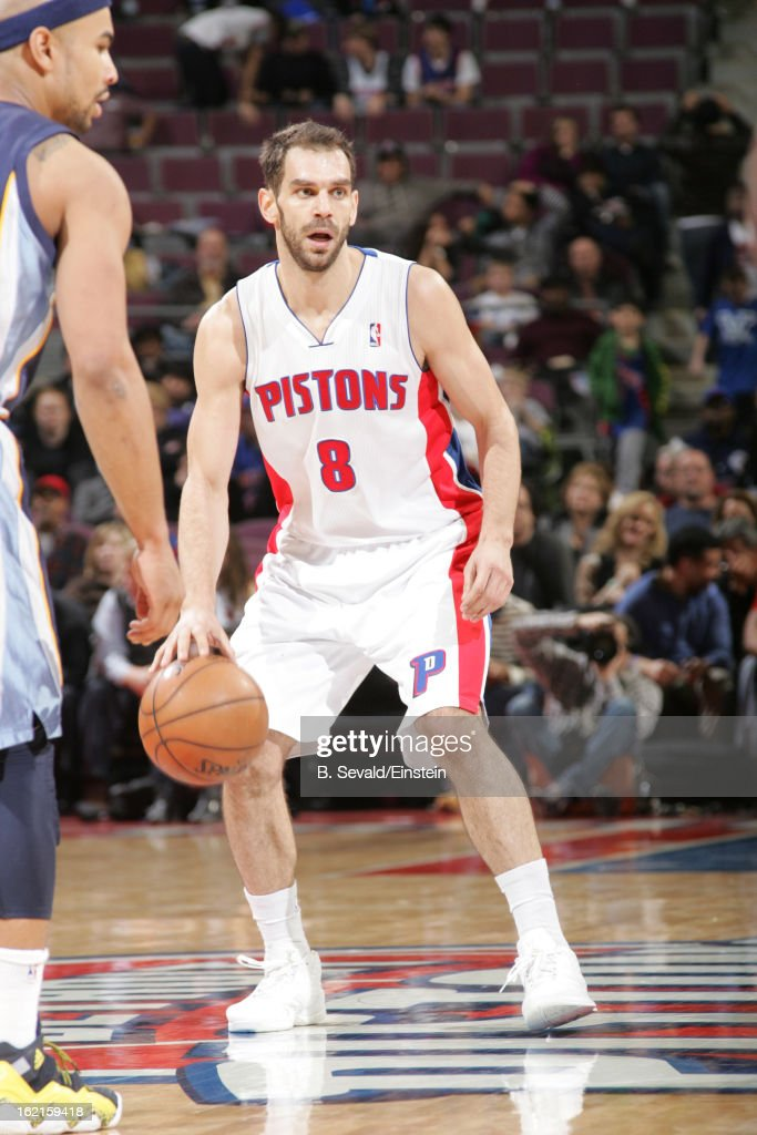 Jose Calderon #8 of the Detroit Pistons controls the ball against the Memphis Grizzlies on February 19, 2013 at The Palace of Auburn Hills in Auburn Hills, Michigan.
