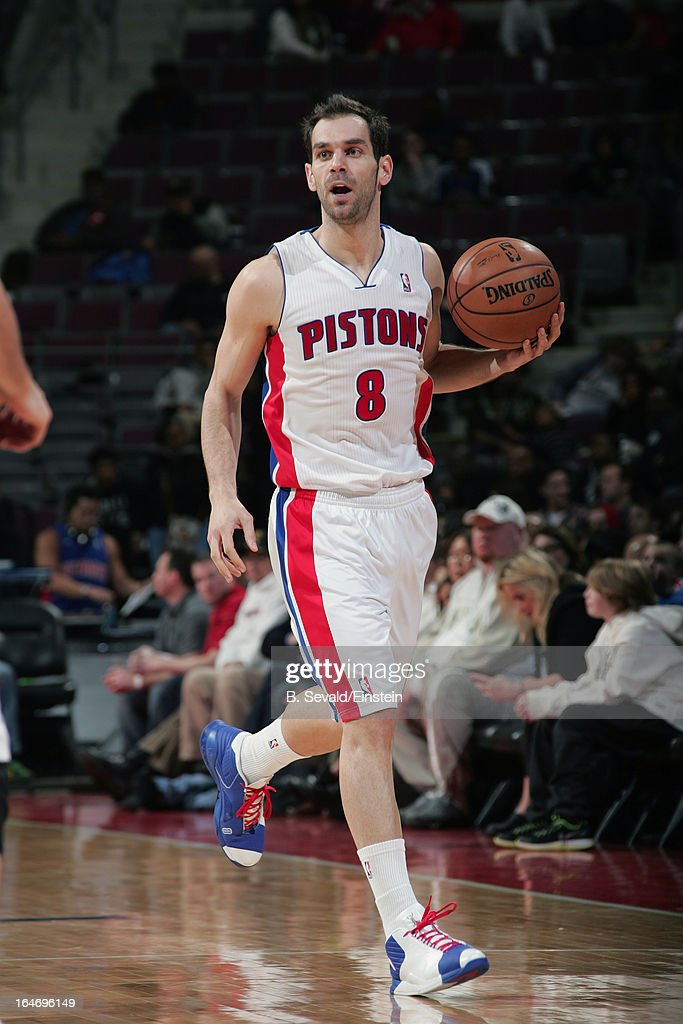 Jose Calderon #8 of the Detroit Pistons dribbles up the court against the Minnesota Timberwolves during the game on March 26, 2013 at The Palace of Auburn Hills in Auburn Hills, Michigan.